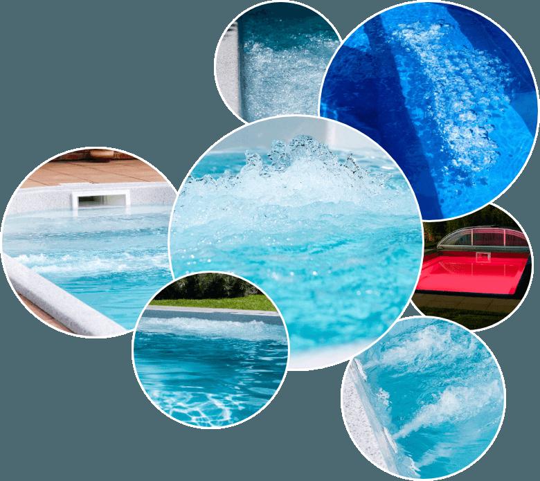 Vybavení bazénnů - trysky, perličkové schody apod.